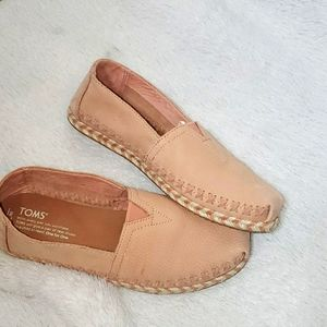 Toms Pink Leather and Strawstiched Espadrillies